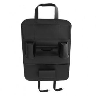 PU Leather Car Back Seat Storage Bag Pocket Phone Pad Cup Holder
