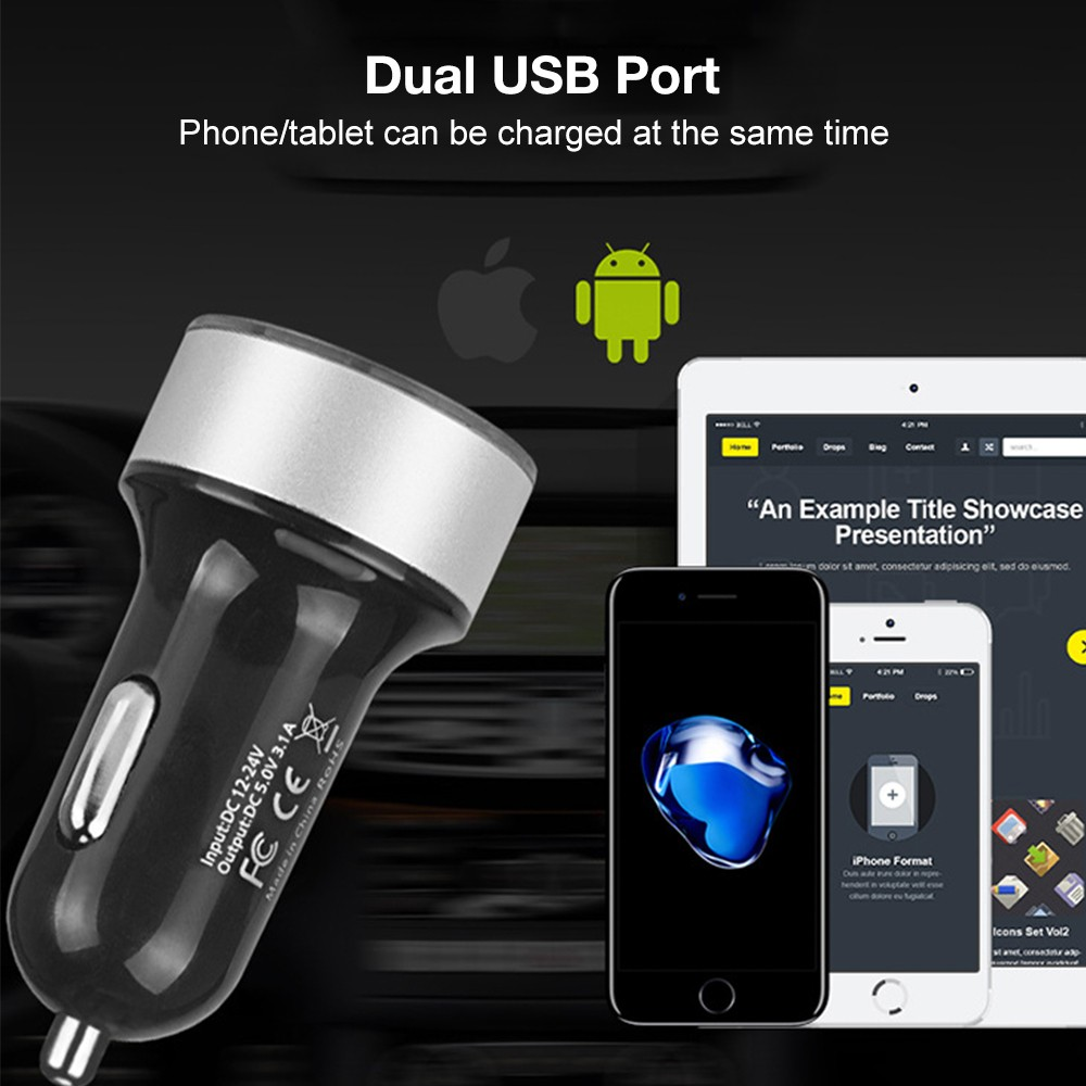 3.1A Dual USB LCD Car Charger with Blue Indicator Light Multi-protection Universal for 12V/24V Vehicles